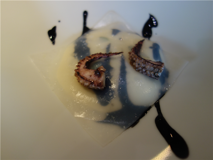 cuttlefish pasta sheet with potato mousseline