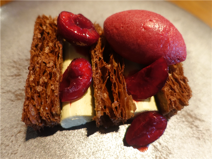 chocolate millefeuille and cherries