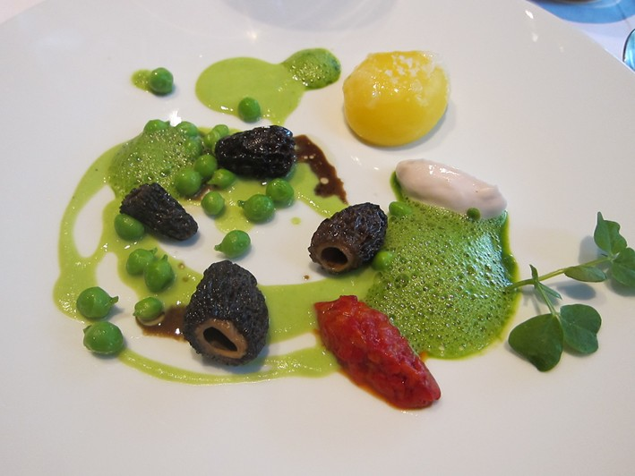 morels, peas and egg