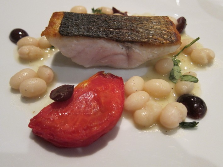 sea bass and beans