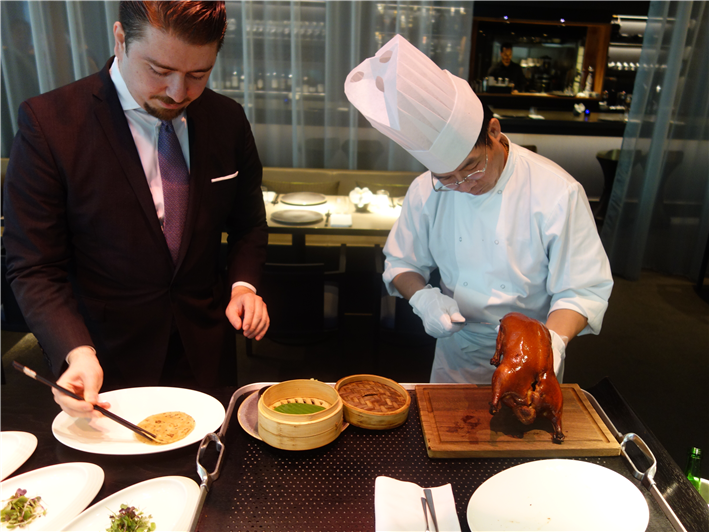 Peking duck carving