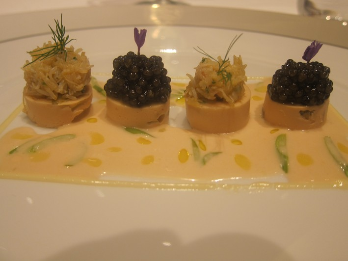 crab with caviar close up