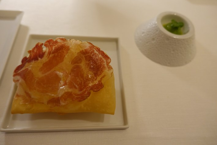 fried pasta and pea sorbet