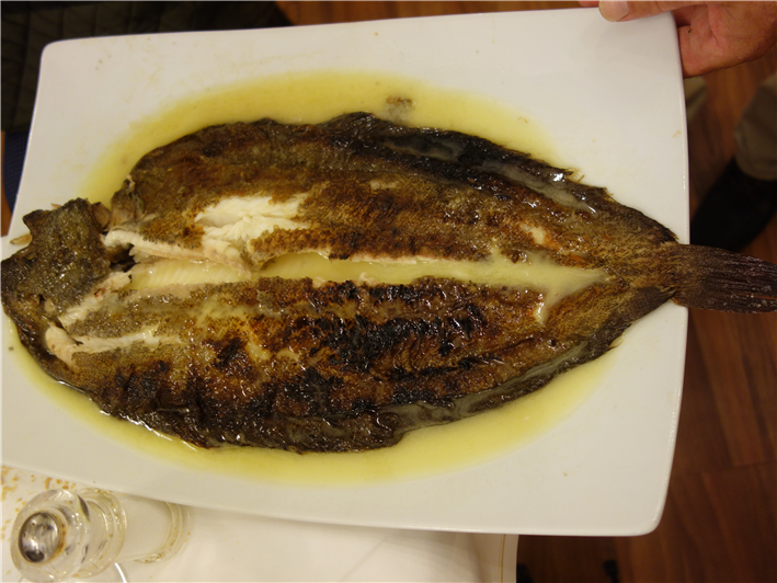 whole cooked Dover sole