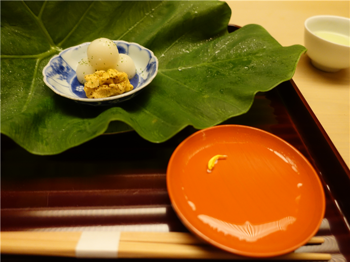appetiser and sake cup