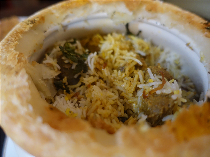lamb biryani cut open