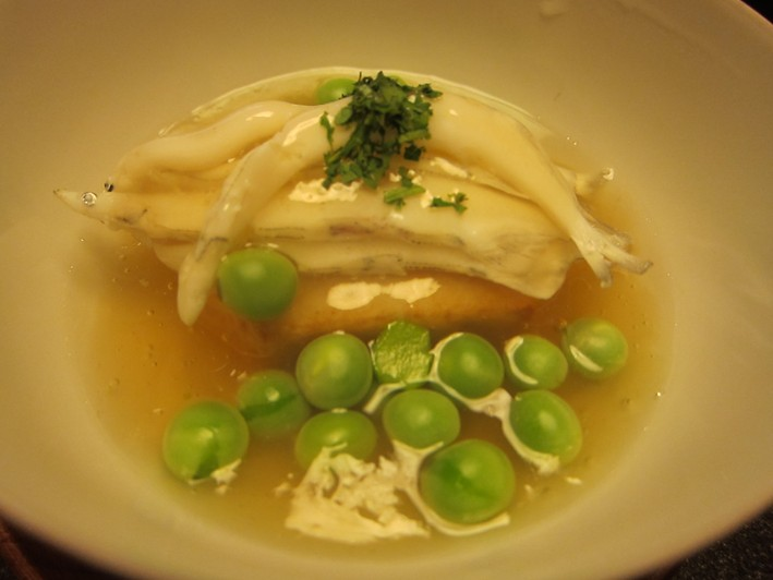 white fish with peas
