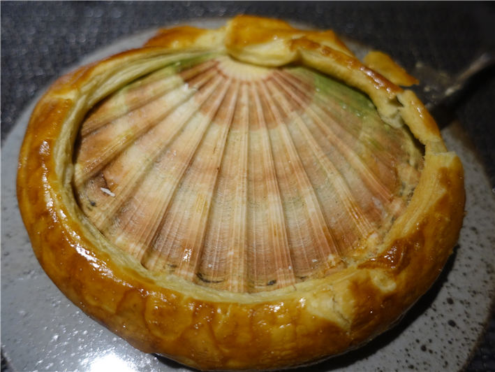 scallop sealed with pastry