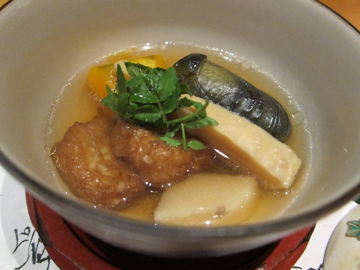 soup of bamboo and aubergine