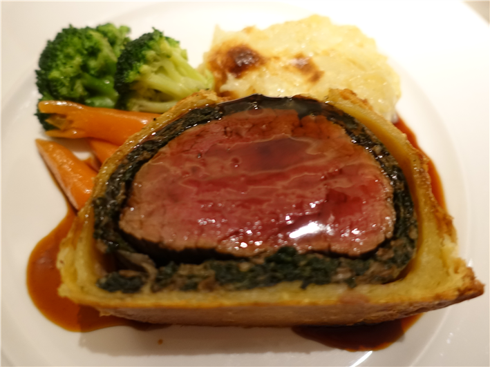 beef Wellington served