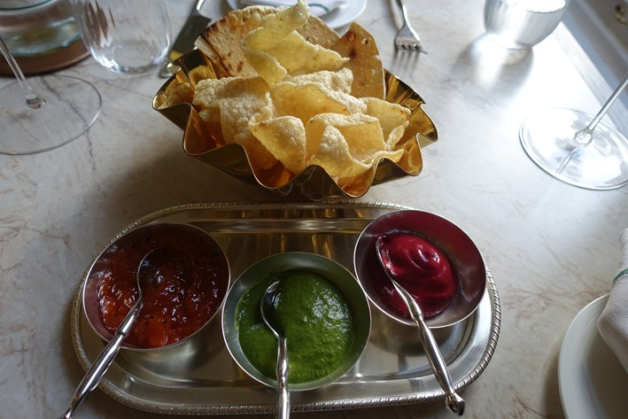 popadoms and chutneys