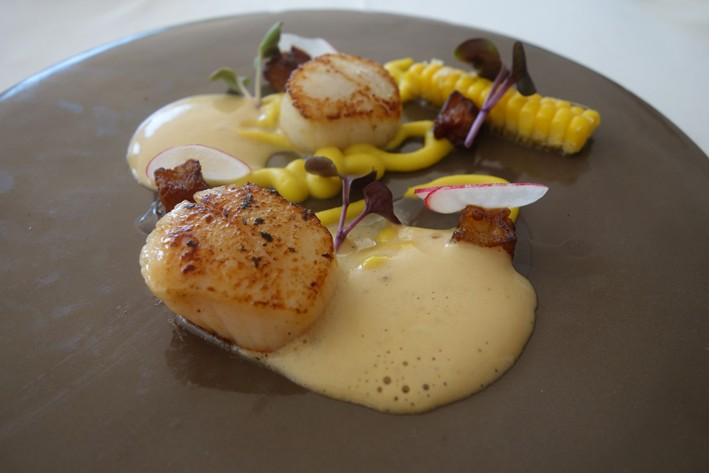 scallop and corn