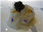white beetroot with eel and caviar