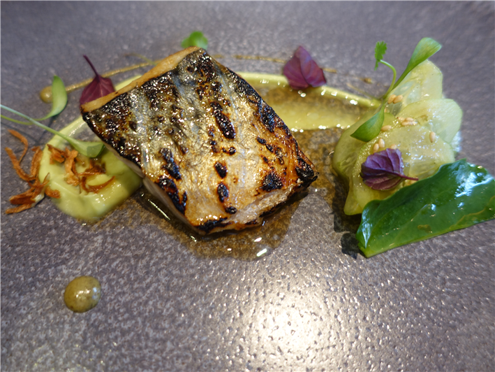 flame grilled mackerel with shiso