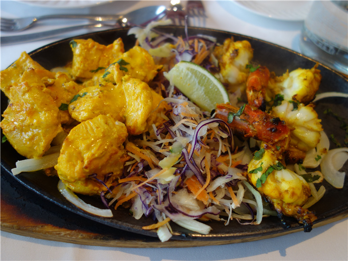 malai tikka and achari prawn