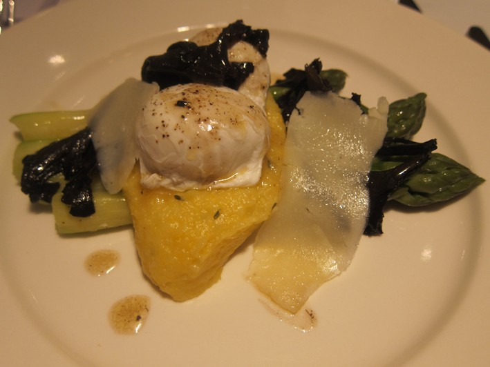 asparagus with poached pheasant egg