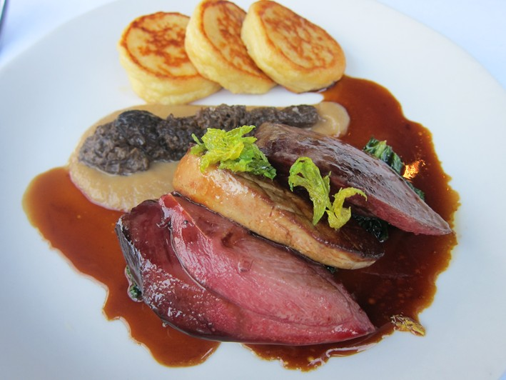 wood pigeon with morels
