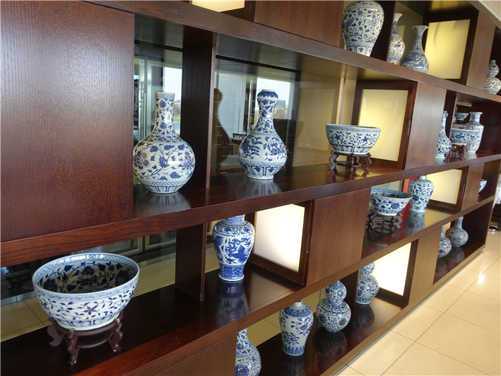 display of vases