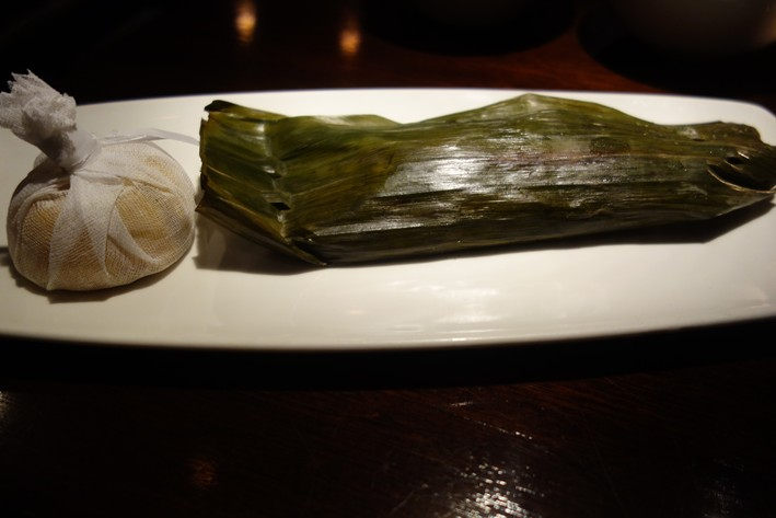 sea bass in banana leaf