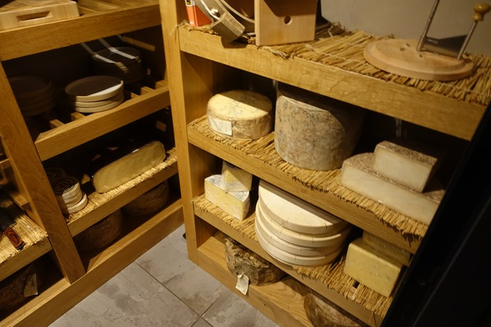 cheese room with hard cheeses