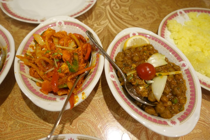 channa and chicken dishes