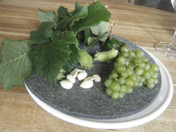 hazelnuts and grapes