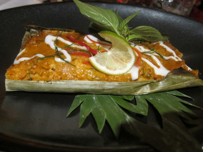 sea bass in leaf