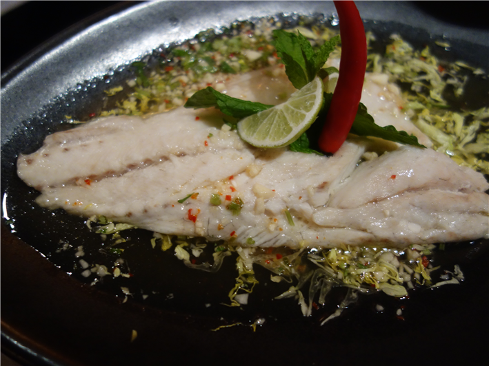 poached sea bass with lime dressing