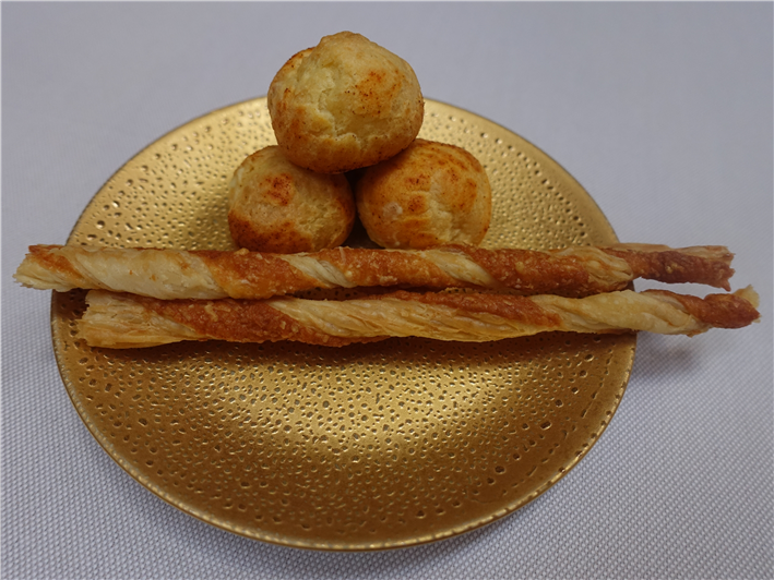 Parmesan straws and gougeres