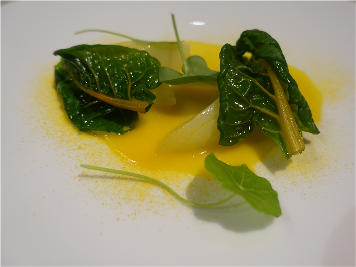 Swiss chard with cod and pumpkin sauce