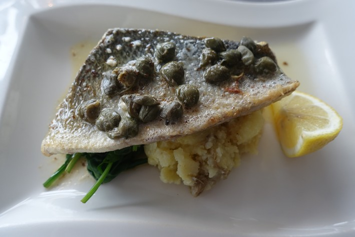 """sea bass"" (as described on the menu) or more likely sea bream."