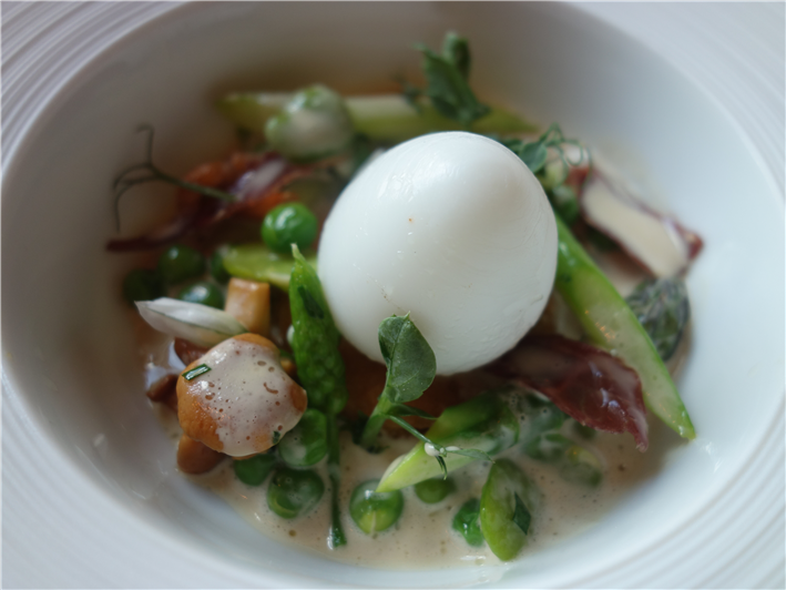 gull egg and asparagus