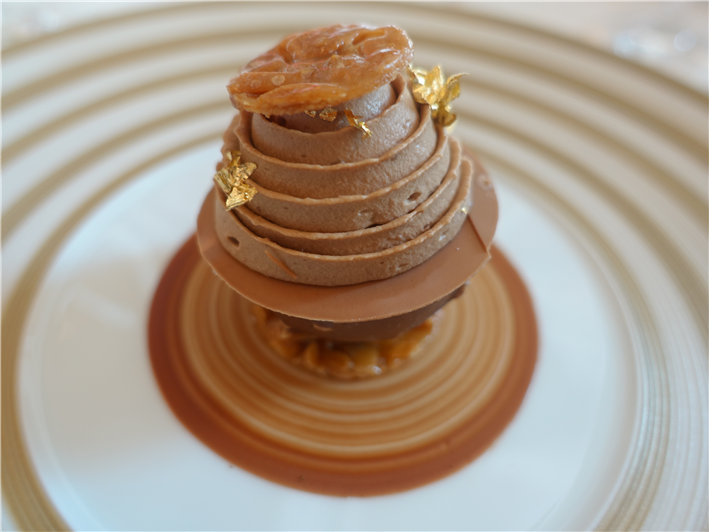 hazelnut, chocolate and salted caramel mousse