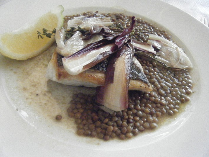 sea bass and lentils