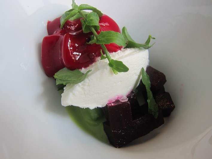 broad beans hyssop curds and beetroot