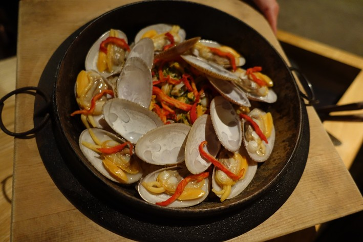 rice with clams displayed