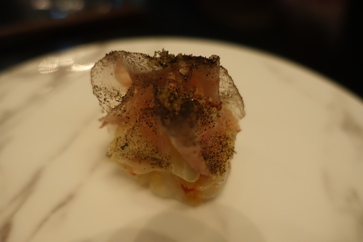 scampi with wood ear mushroom