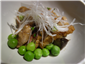 duck breast with peas and oyster mushrooms