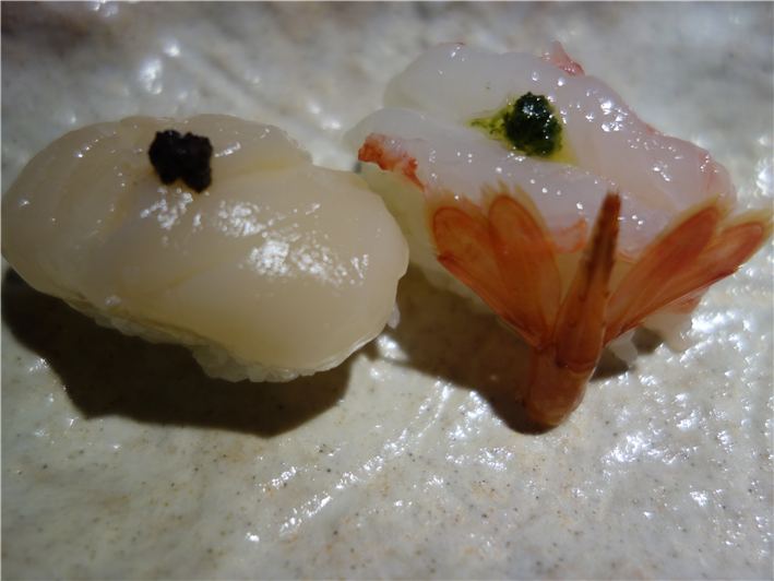 sushi of Japanese scallop and spot prawn