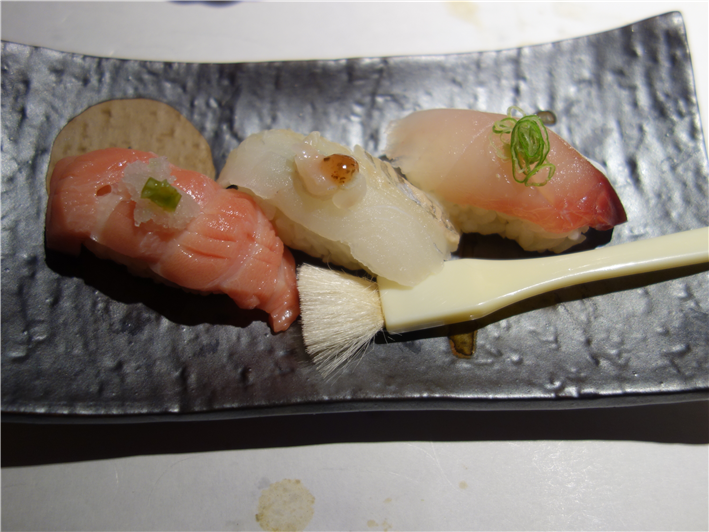 sushi of toro tuna, turbot and horse mackerel