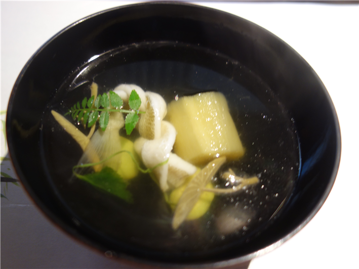 soup of ladyfish, broad beans and aubergine