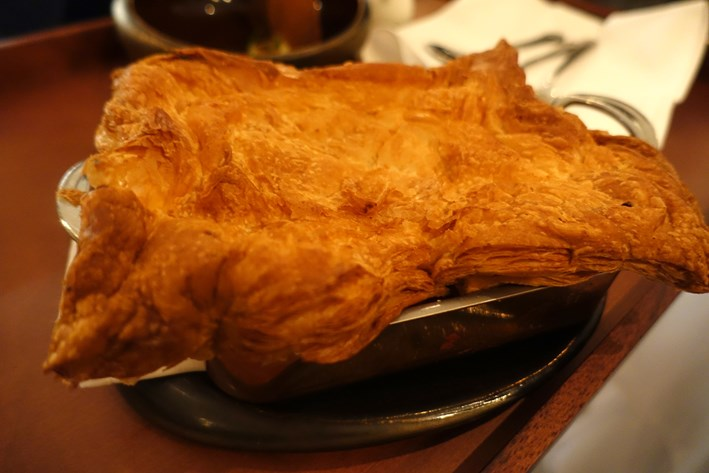 puff pastry topping the lobster