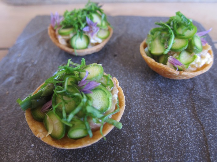 herb tartlets close up