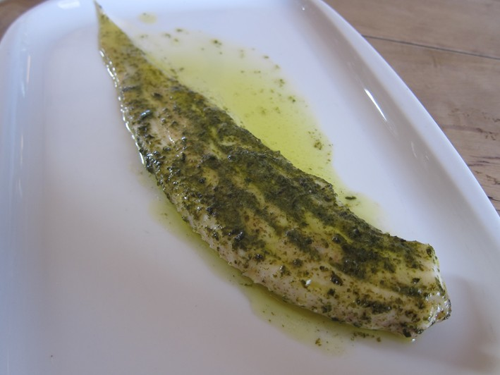 slip sole with herb butter