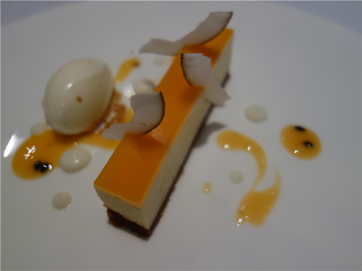 Brillat Savarin cheesecake with passion fruit