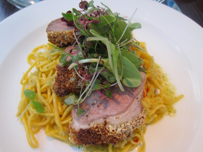 duck breast on chilli noodles
