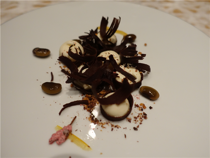 chocolate and cherry blossom dessert
