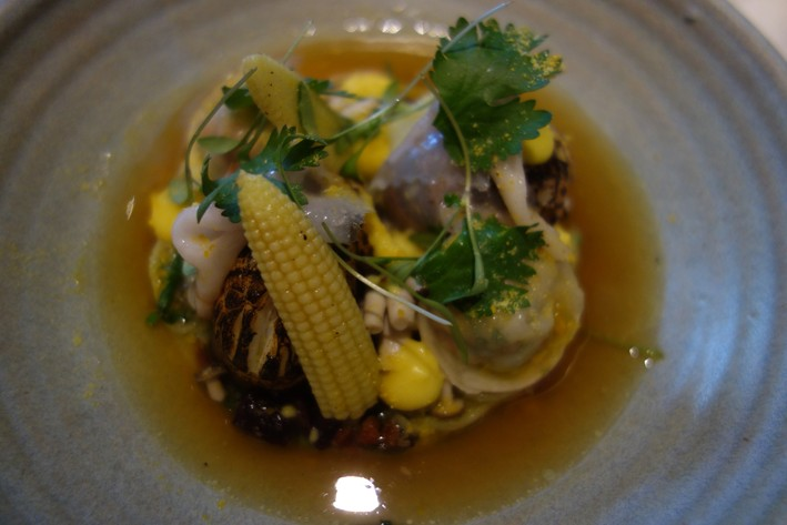 langoustine and corn