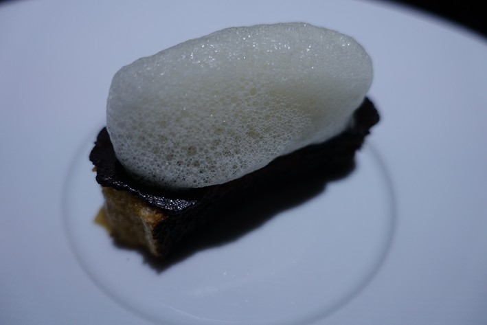 toast with truffle and butter foam