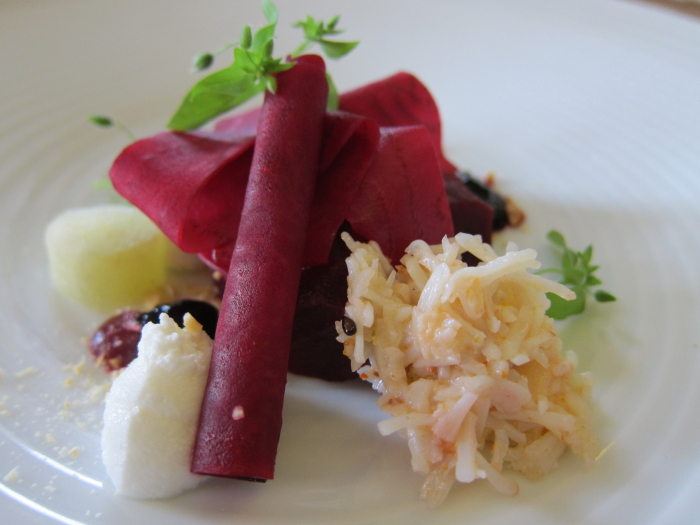 textures of beetroot and crab